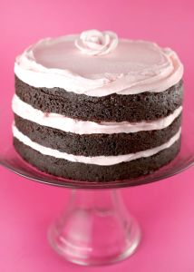 Chocolate and pink cake